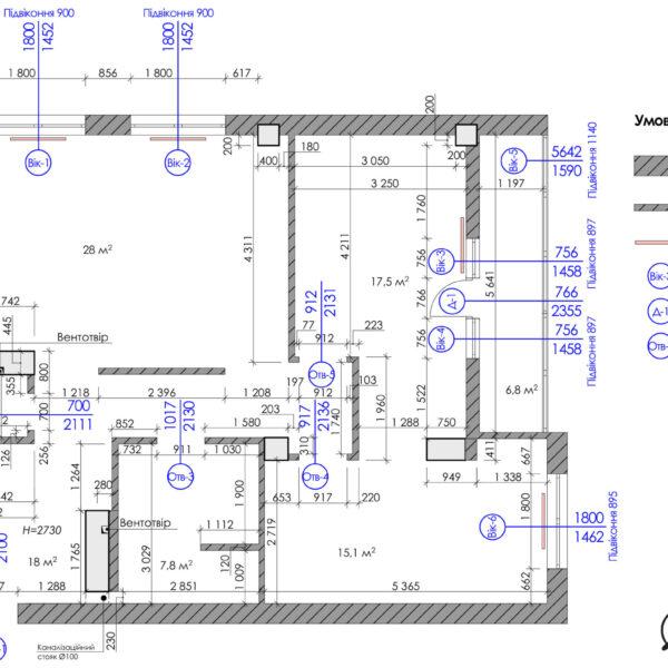 Дизайн-проект квартиры ЖК «Журавли», чертеж окна двери