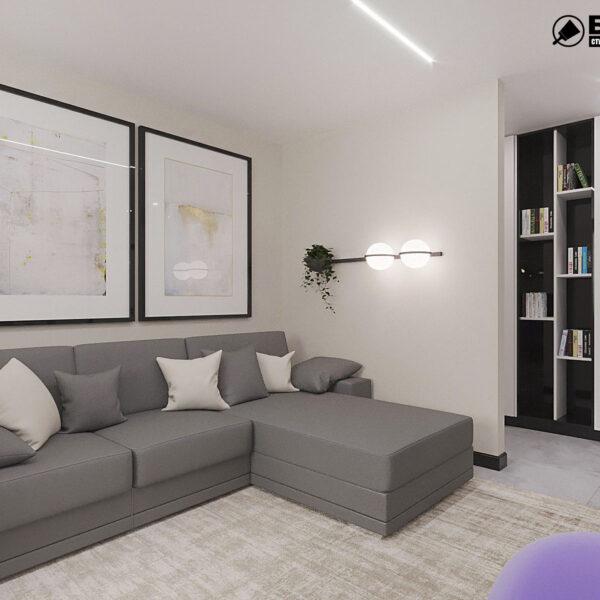 """Дизайн-проект квартиры ЖК """"Журавли"""", гостиная вид справа"""