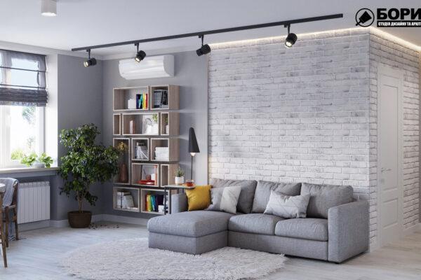 Дизайн интерьера квартиры ул. Юрия Паращука, гостиная вид спереди