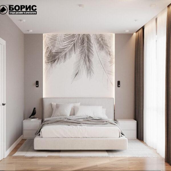 Дизайн-проект однокомнатной квартиры ул. Елизаветинская, спальня вид спереди