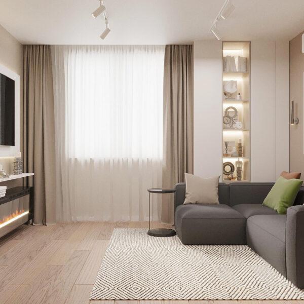 """Дизайн-проект ЖК """"Пролисок"""", гостиная вид спереди"""