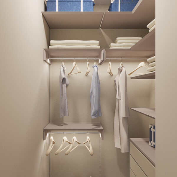 """Дизайн-проект ЖК """"Пролисок"""", гардеробная вид спереди"""