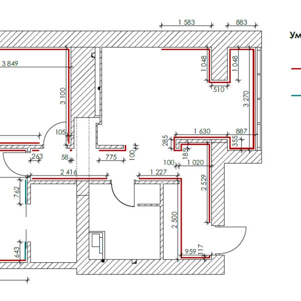 Дизайн-проект квартиры ЖК «Немецкий проект», чертеж плинтуса