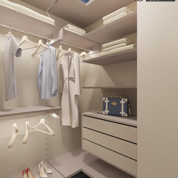 """Дизайн-проект ЖК """"Пролисок"""", гардеробная вид сбоку"""