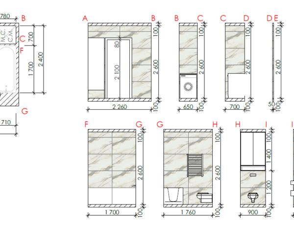 """Дизайн-проект квартири ЖК """"Німецький проект"""", креслення розміри"""