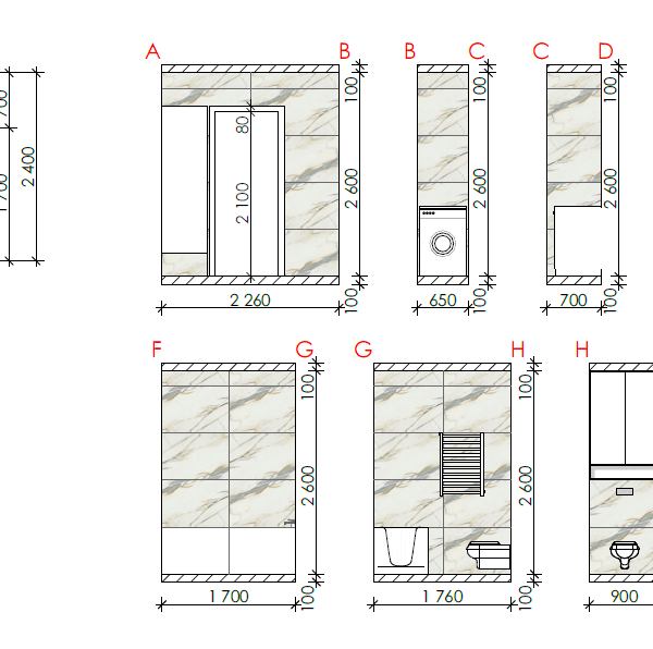 Дизайн-проект квартиры ЖК «Немецкий проект», чертеж размеры