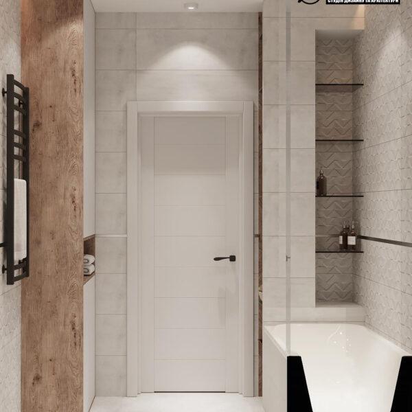 Дизайн-проект однокомнатной квартиры ул. Елизаветинская, санузел вид сзади
