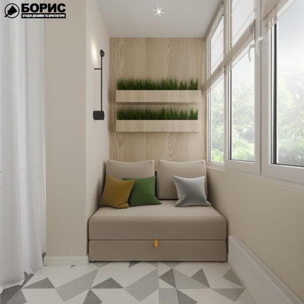"""Дизайн-проект ЖК """"Пролисок"""", балкон вид слева"""