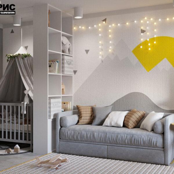 Дизайн интерьера квартиры ул. Юрия Паращука, детская вид сбоку