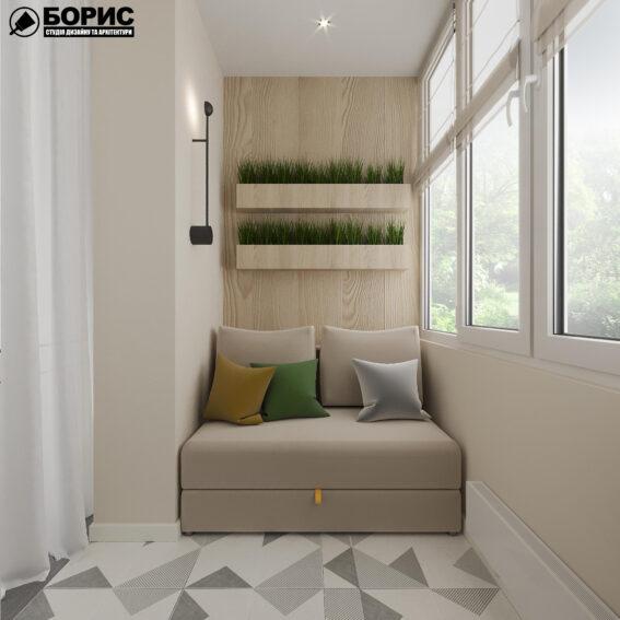 """Дизайн-проект ЖК """"Пролісок"""", балкон вид зліва"""