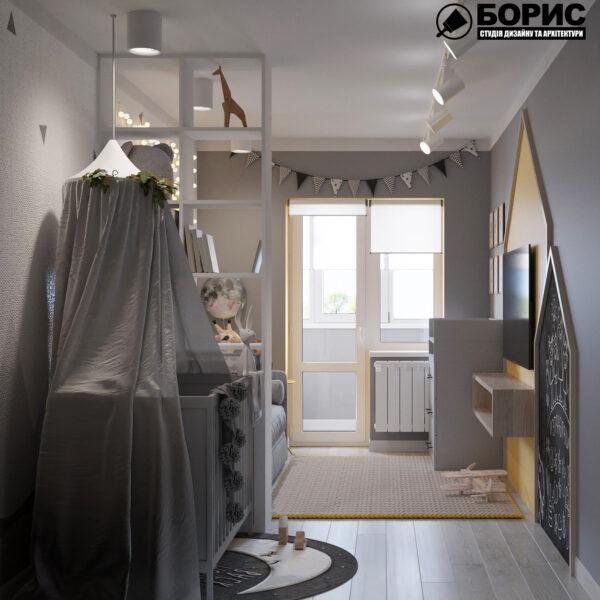 Дизайн интерьера квартиры ул. Юрия Паращука, детская вид спереди
