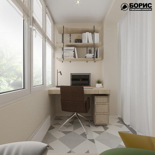 """Дизайн-проект ЖК """"Пролисок"""", балкон вид справа"""