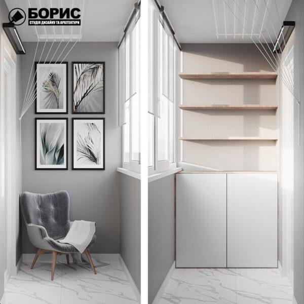 Дизайн-проект однокомнатной квартиры ул. Елизаветинская, балкон