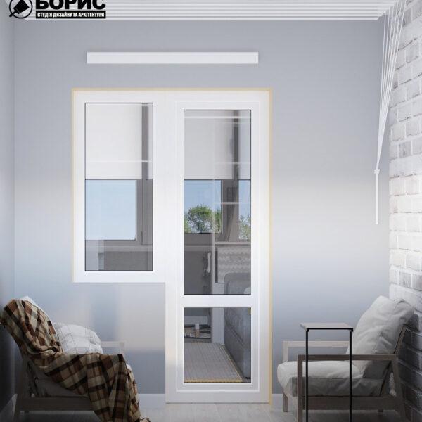 Дизайн интерьера квартиры ул. Юрия Паращука, балкон вид сзади