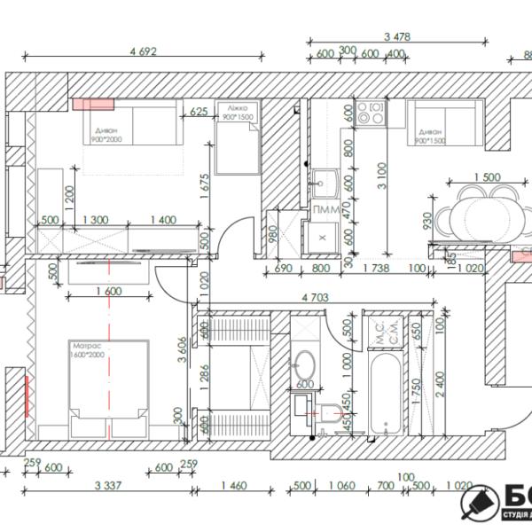 """Дизайн-проект квартири ЖК """"Німецький проект"""", креслення планування"""