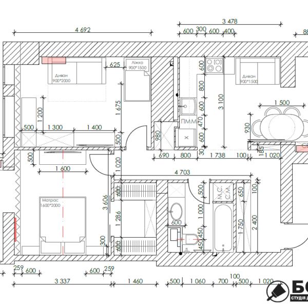 Дизайн-проект квартиры ЖК «Немецкий проект». чертеж планировка