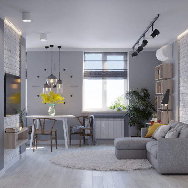 Дизайн интерьера квартиры ул. Юрия Паращука, гостиная вид слева