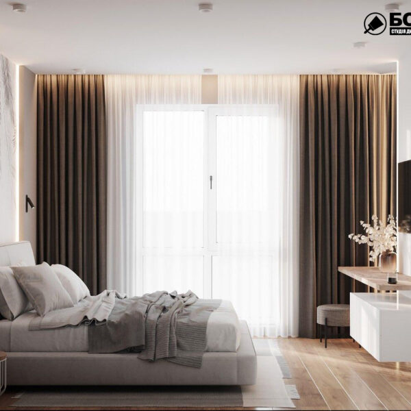 Дизайн-проект однокомнатной квартиры ул. Елизаветинская, спальня вид справа