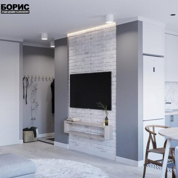 Дизайн интерьера квартиры ул. Юрия Паращука, гостиная вид сзади