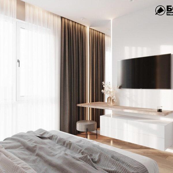 Дизайн-проект однокомнатной квартиры ул. Елизаветинская, спальня вид сбоку
