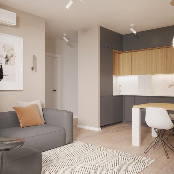 """Дизайн-проект ЖК """"Пролисок"""", гостиная вид справа"""