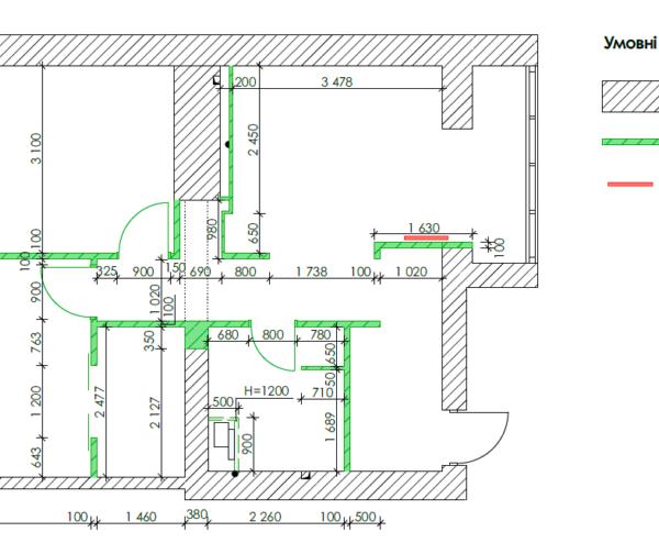 """Дизайн-проект квартири ЖК """"Німецький проект"""", креслення, монтаж перегородок"""