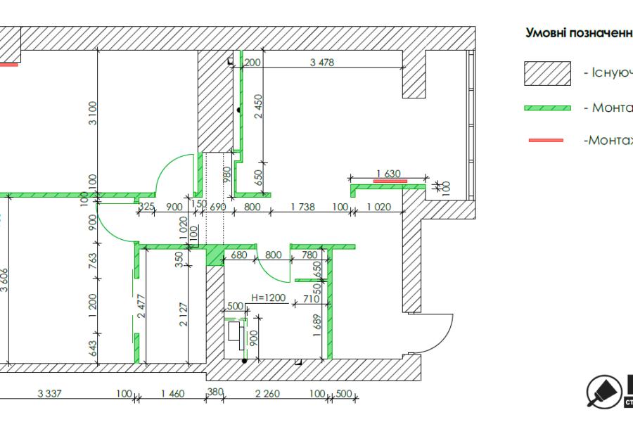 Дизайн-проект квартиры ЖК «Немецкий проект», чертеж монтаж перегородок