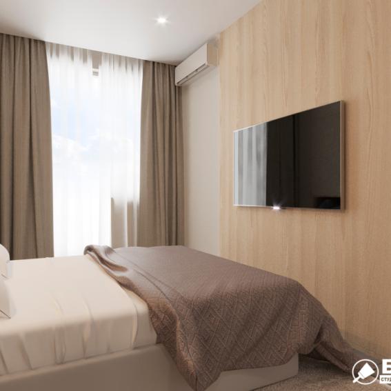 """Дизайн-проект ЖК """"Пролісок"""", спальня вид справа"""
