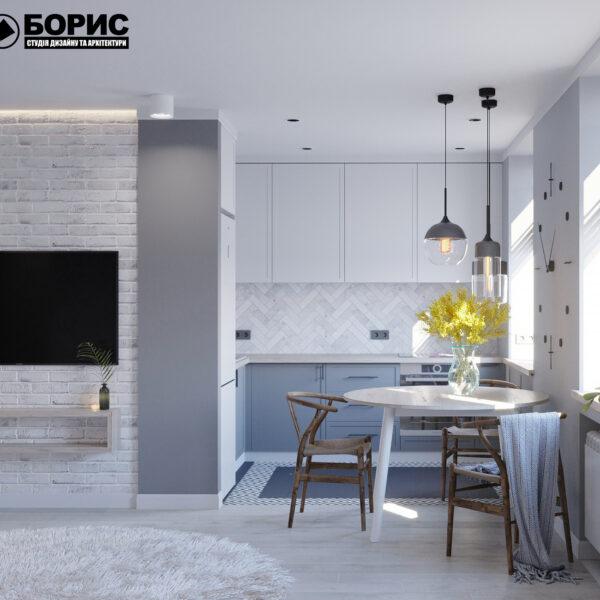 Дизайн интерьера квартиры ул. Юрия Паращука, кухня вид спереди