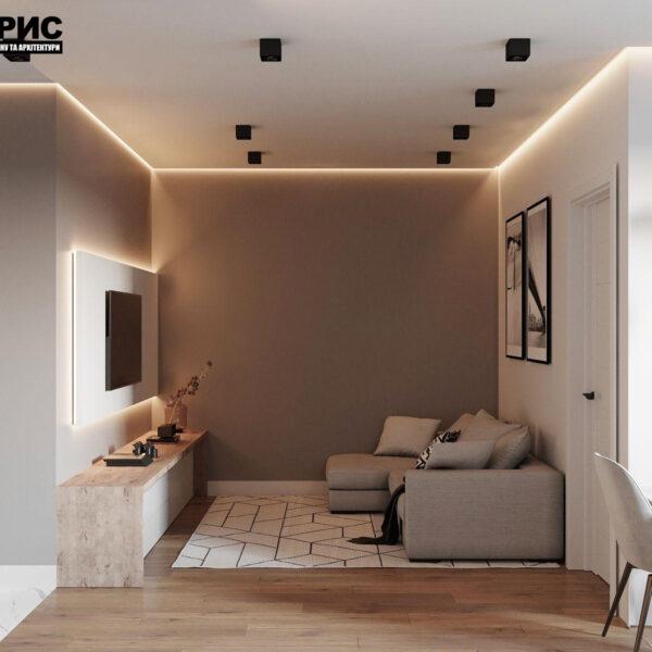 Дизайн-проект однокомнатной квартиры ул. Елизаветинская, гостиная вид спереди