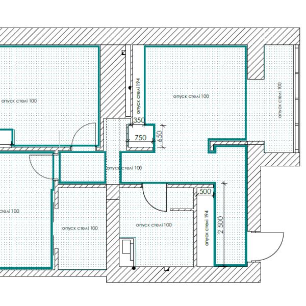 Дизайн-проект квартиры ЖК «Немецкий проект», чертеж потолок карниз
