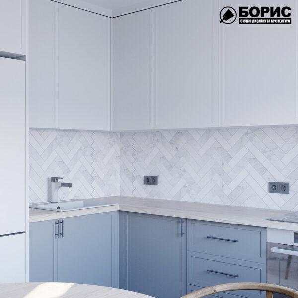 Дизайн интерьера квартиры ул. Юрия Паращука, кухня вид сбоку