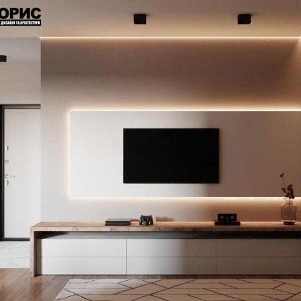 Дизайн-проект однокомнатной квартиры ул. Елизаветинская, гостиная вид сбоку