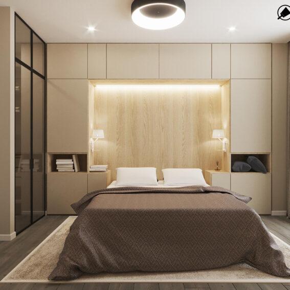 """Дизайн-проект ЖК """"Пролісок"""", спальня вид спереду"""