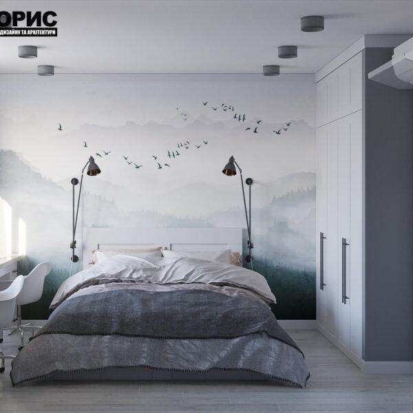Дизайн интерьера квартиры ул. Юрия Паращука, спальня вид спереди