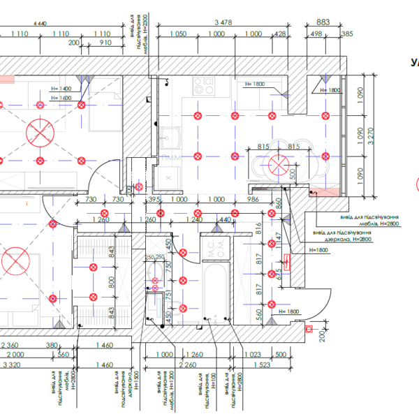 Дизайн-проект квартиры ЖК «Немецкий проект», чертеж электричество