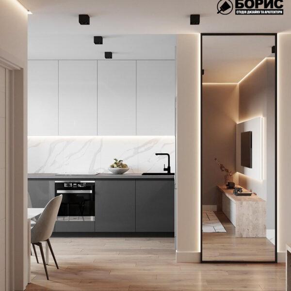 Дизайн-проект однокомнатной квартиры ул. Елизаветинская, гостиная вид сзади