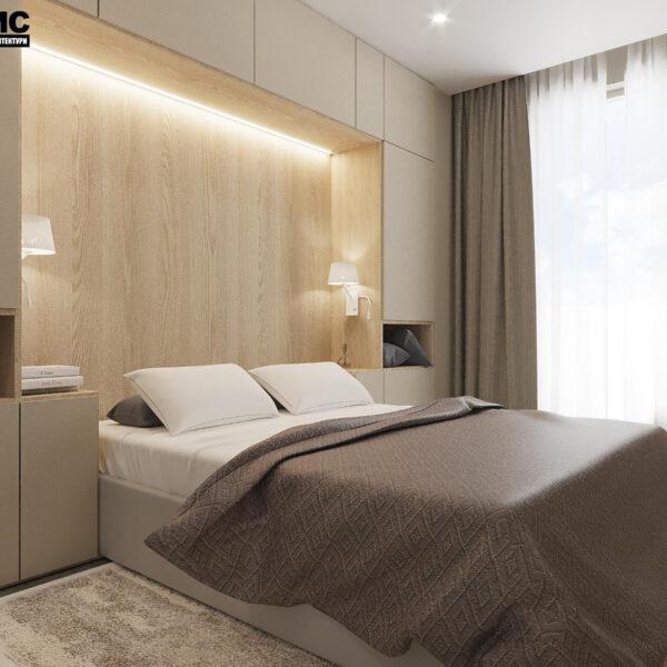 """Дизайн-проект ЖК """"Пролисок"""", спальня вид сбоку"""