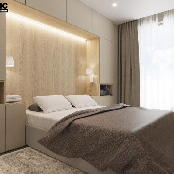 """Дизайн-проект ЖК """"Пролісок"""", спальня вид збоку"""
