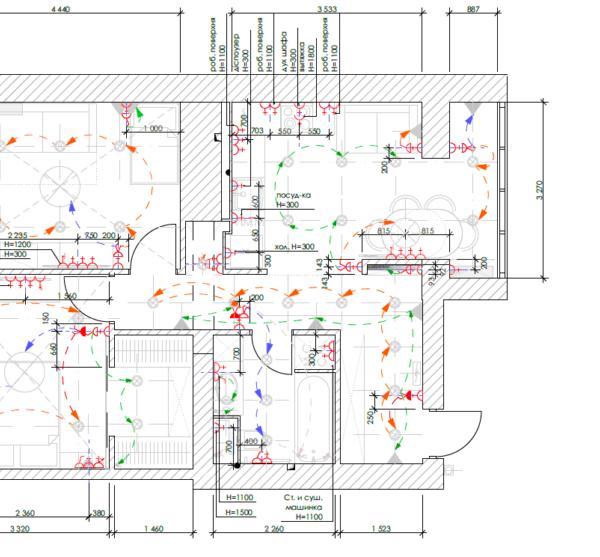 """Дизайн-проект квартири ЖК """"Німецький проект"""", креслення розетки вимикачі"""