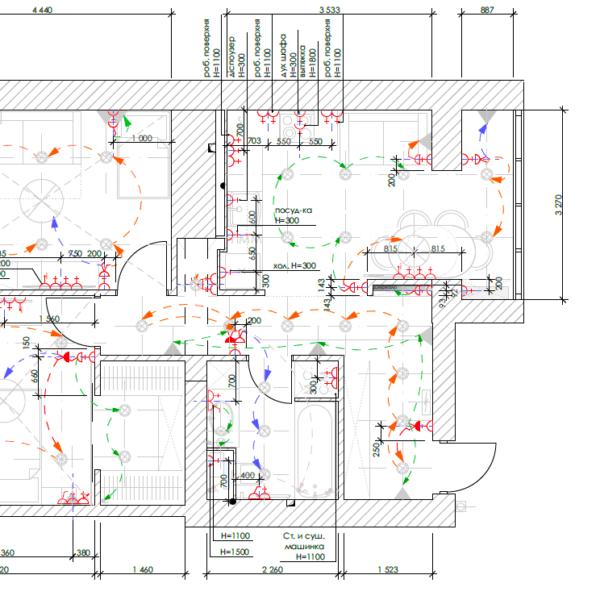 Дизайн-проект квартиры ЖК «Немецкий проект», чертеж розетки выключатели