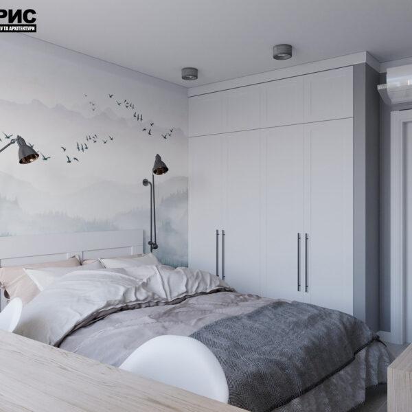 Дизайн интерьера квартиры ул. Юрия Паращука, спальня вид справа