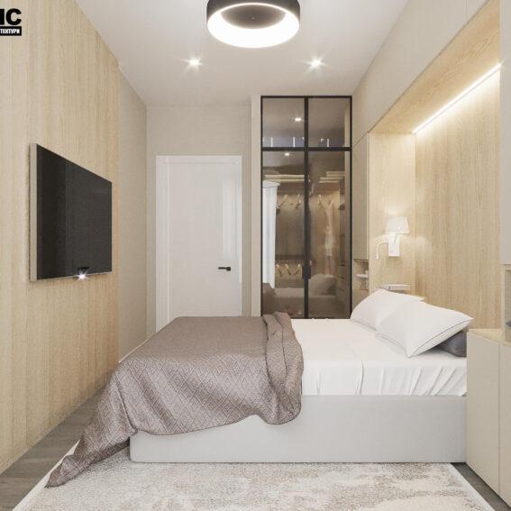 """Дизайн-проект ЖК """"Пролісок"""", спальня вид зліва"""
