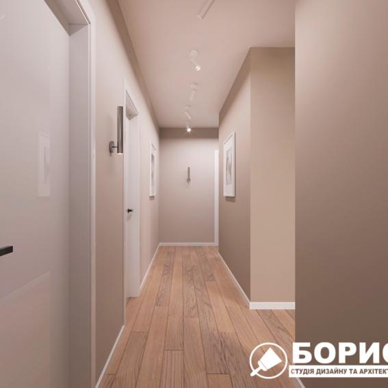 """Дизайн-проект ЖК """"Пролісок"""", коридор вид спереду"""