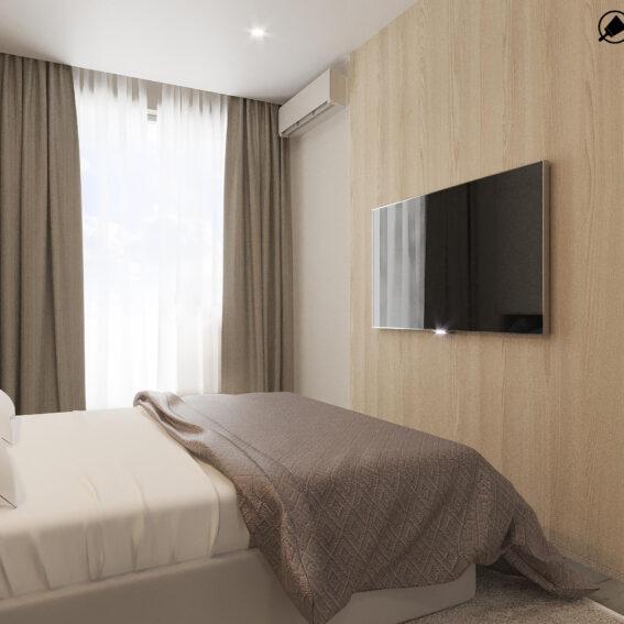 """Дизайн-проект ЖК """"Пролісок""""спальня вид справа"""
