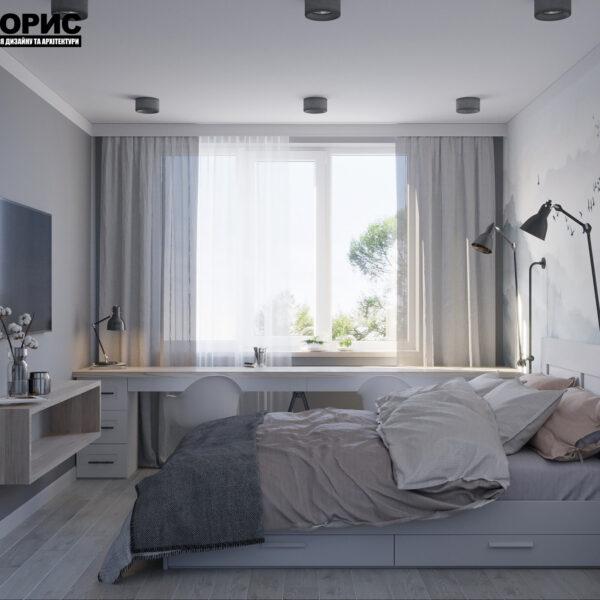 Дизайн интерьера квартиры ул. Юрия Паращука, спальня вид слева