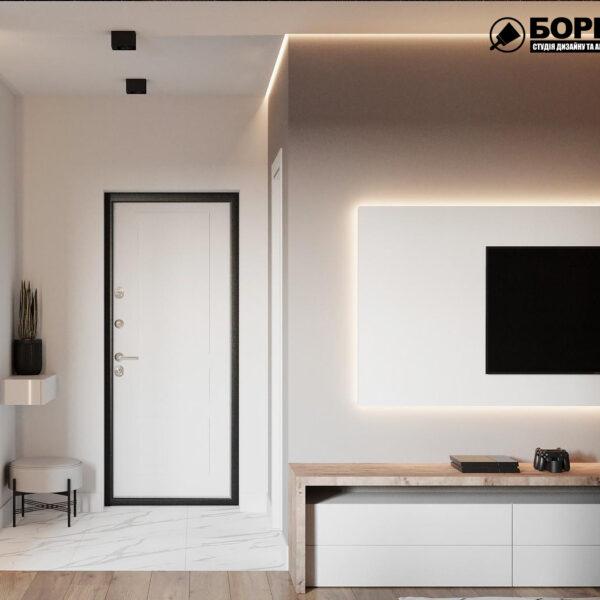 Дизайн-проект однокомнатной квартиры ул. Елизаветинская, прихожая