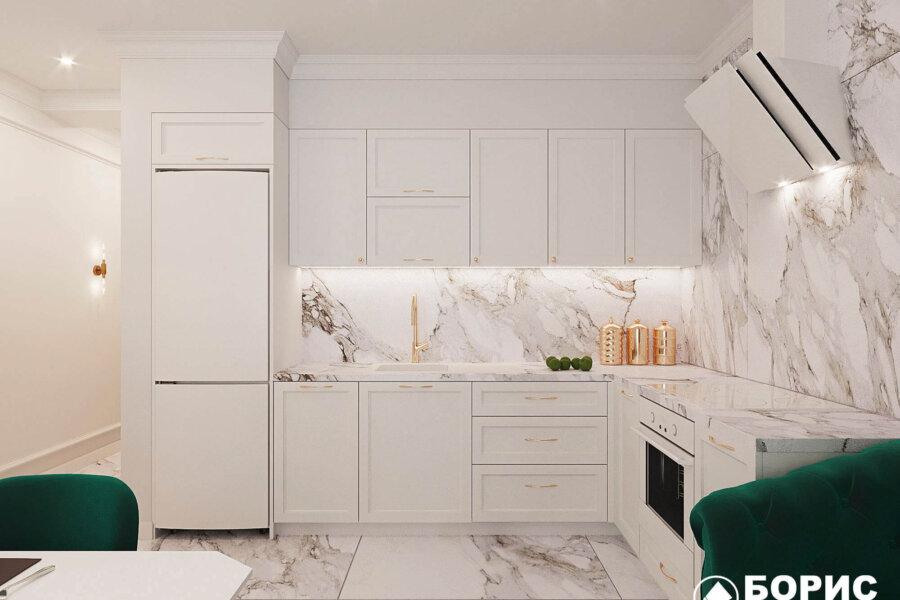 Дизайн-проект квартиры ЖК «Немецкий проект», кухня вид спереди №2