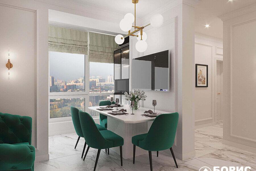 Дизайн-проект квартиры ЖК «Немецкий проект», обеденный стол