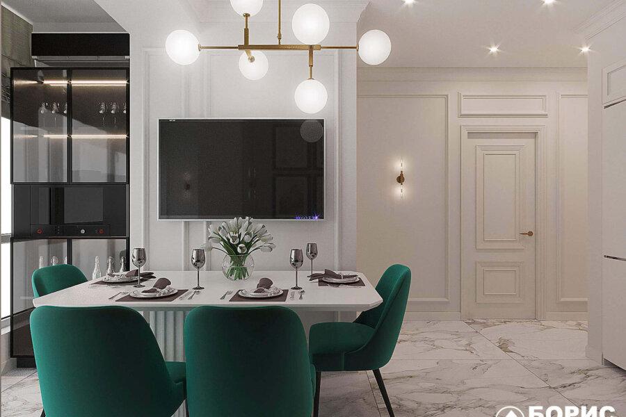 Дизайн-проект квартиры ЖК «Немецкий проект», кухня вид слева